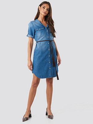 NA-KD Grandad Collar Denim Mini Dress blå