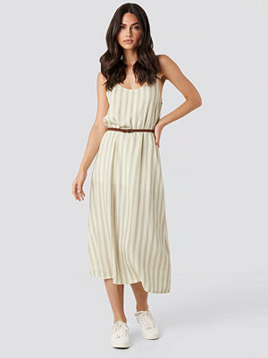 Trendyol Knot Strap Striped Midi Dress beige