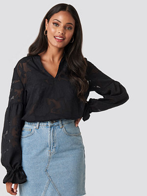 NA-KD Boho Jacquard Flower Applique Blouse svart