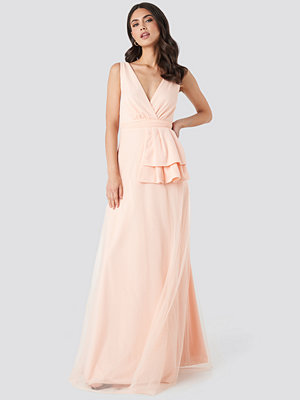 Trendyol Peplum Detailed Evening Dress rosa