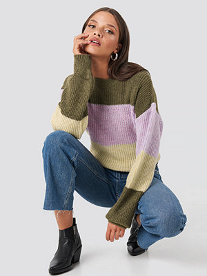 NA-KD Color Striped Balloon Sleeve Knitted Sweater multicolor