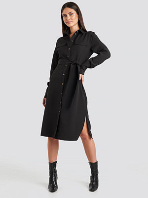 NA-KD Classic Belted Long Shirt Dress svart