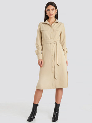 NA-KD Classic Belted Long Shirt Dress beige