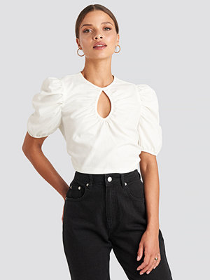 NA-KD Trend Short Puff Sleeve Keyhole Front Blouse gul