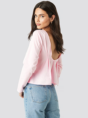 NA-KD Oxford Long Sleeve Shirt With Open Back rosa