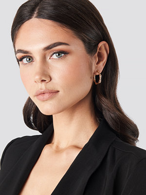 NA-KD Accessories smycke Hammered Hexagon Hoop Earrings guld