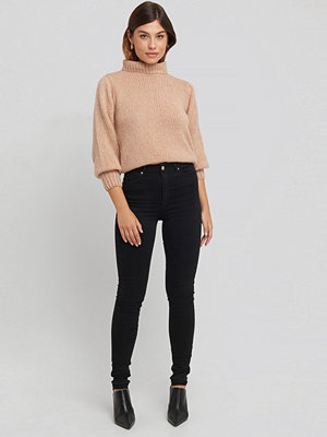 NA-KD Skinny High Waist Open Hem Jeans Tall svart