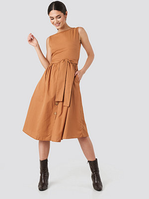 Trendyol Front Button Binding Detailed Midi Dress orange
