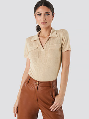 T-shirts - Trendyol Collar Pocket Detailed Tee beige