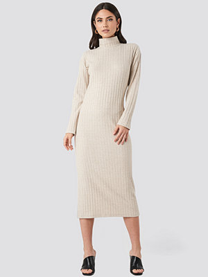NA-KD Trend High Neck Ribbed Ankle Length Knitted Dress beige