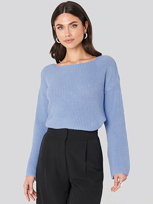 NA-KD Cropped Long Sleeve Knitted Sweater blå