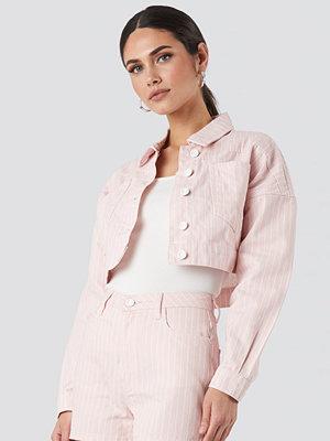 Trendyol Striped Denim Jacket rosa