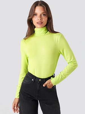NA-KD Basic Viscose Long Sleeve Polo Top grön