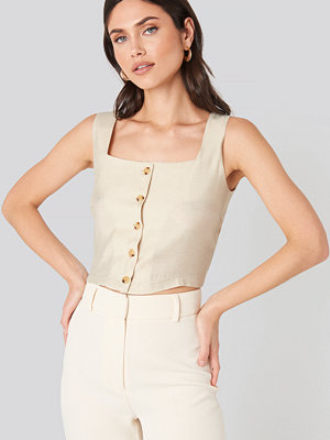Trendyol Milla Button Detail Top beige
