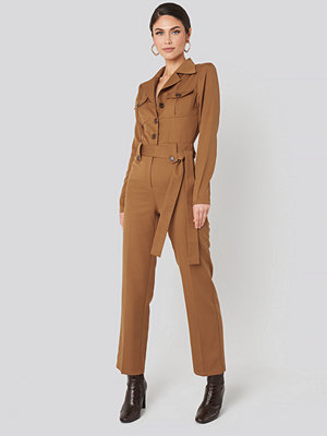 Jumpsuits & playsuits - NA-KD Trend Front Pocket Tied Waist Jumpsuit brun