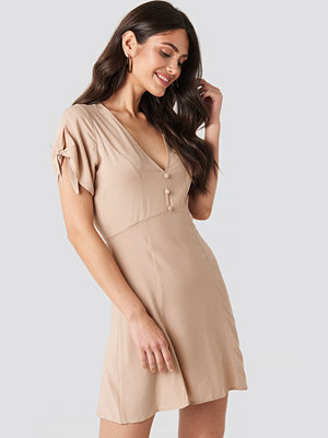 NA-KD Tie Sleeve Mini Dress beige