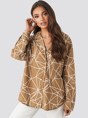 NA-KD Oversized Safari Shirt beige