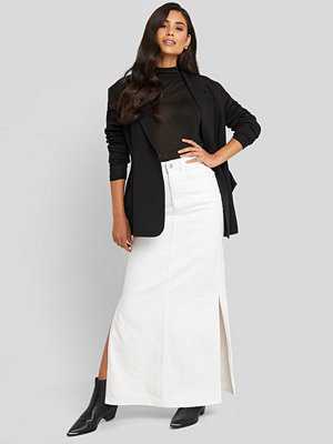 NA-KD Trend Side Split Maxi Denim Skirt vit