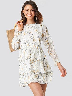 NA-KD Boho Triple Layer Flounce Mini Dress vit