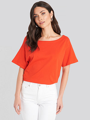 T-shirts - Trendyol Wide Neck Boyfriend Tee orange
