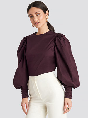 NA-KD Trend Puff Sleeve Fitted Top röd