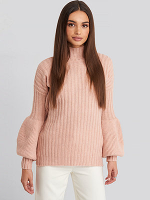 Trendyol High Neck Puff Sleeve Knitted Sweater rosa