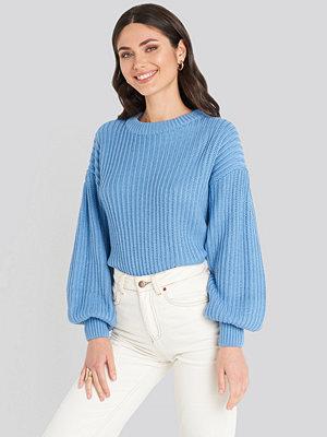 NA-KD Balloon Sleeve Round Neck Sweater blå