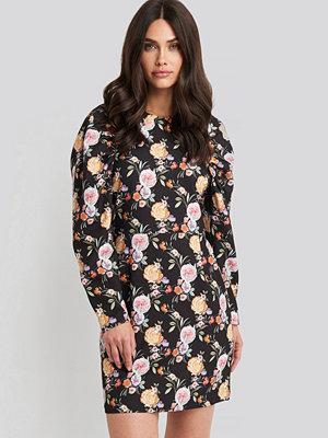 NA-KD Puff Sleeve Round Neck Mini Dress multicolor