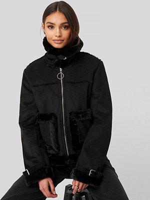 NA-KD Faux Suede Fur Jacket svart