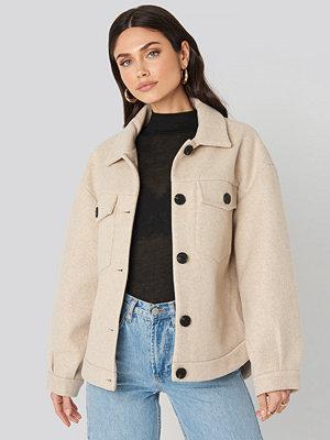 NA-KD Front Pocket Oversized Jacket beige