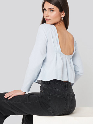 NA-KD Oxford Long Sleeve Shirt With Open Back blå