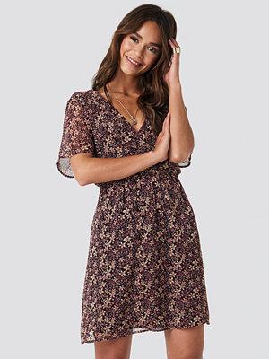NA-KD Boho Short Sleeve V-Neck Mini Dress multicolor