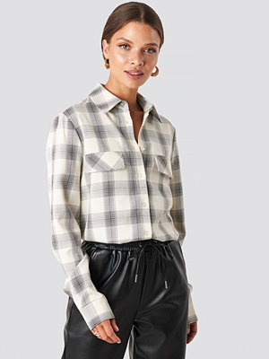 NA-KD Trend Checked Oversized Shirt beige