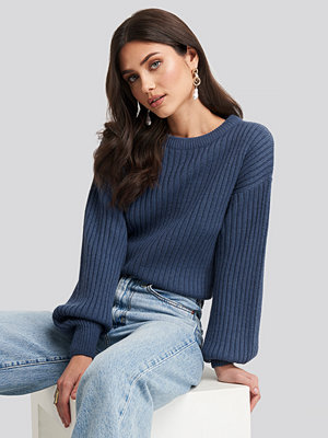 NA-KD Wool Blend Ribbed Knitted Sweater blå