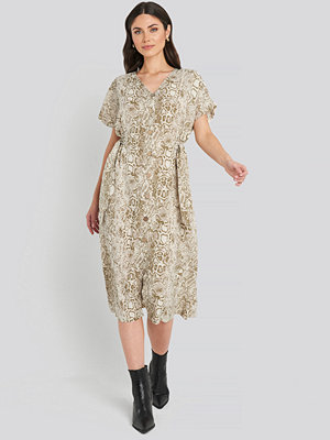 Trendyol Button Snake Long Dress beige