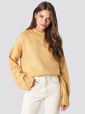 NA-KD Wide Sleeve Round Neck Knitted Sweater gul