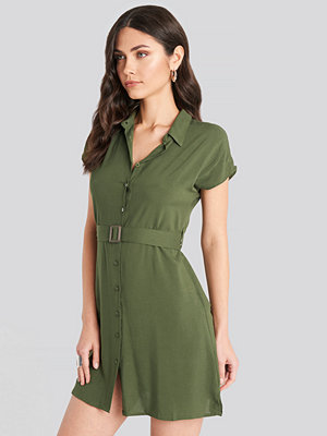 Trendyol Belted Shirt Mini Dress grön