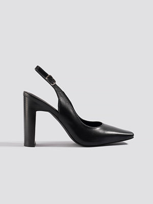 NA-KD Shoes Squared Front Slingback Pumps svart