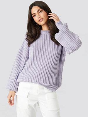 NA-KD Wool Blend Ribbed Knitted Sweater lila