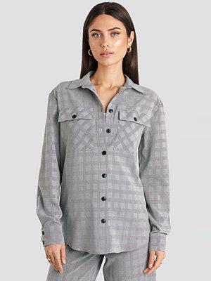 NA-KD Classic Plaid Overshirt grå