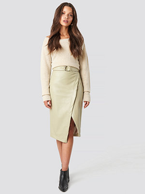 Tina Maria x NA-KD Overlapped Faux Leather Midi Skirt beige