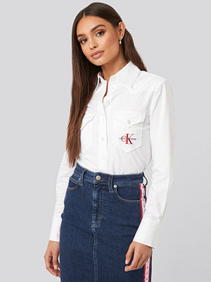 Calvin Klein Cotton Satin Western Crop Shirt vit