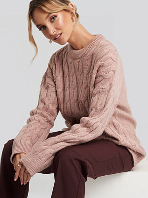 NA-KD Cable Knitted Oversized Sweater rosa