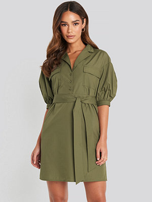 NA-KD Puff Sleeve Chest Pocket Mini Dress grön