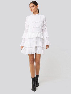 NA-KD Party High Neck Layered Mini Dress vit