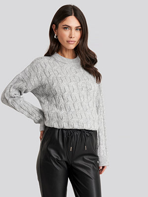 NA-KD Cable Knitted Oversized Sweater grå