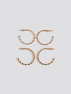 NA-KD Accessories smycke Beaded Look Hoop Earrings (Double Pack) guld