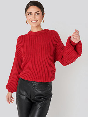 NA-KD Wool Blend Ribbed Knitted Sweater röd