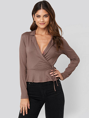 Trendyol Side knot Detailed Wrap Blouse brun