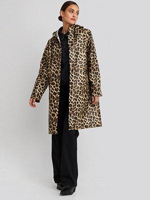 NA-KD Trend Leo Printed Rain Coat brun